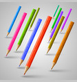 realistic wooden colorful pencils vector image vector image