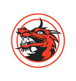 Red Chinese Dragon Head Circle vector image vector image