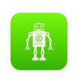 retro robot icon digital green vector image vector image