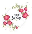 round banner with the hello spring logo card for vector image vector image