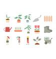set gardening icon with woman plants wheelbarrow vector image vector image
