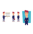 set of businessman character cartoon vector image