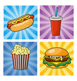 set pop art fastfood how hot dog with soda and vector image vector image