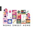 simple things - home composition on white vector image vector image