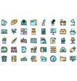 space organization icons set flat vector image vector image