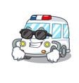 super cool ambulance character cartoon style vector image