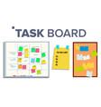 task board set sticker notes scrum tasks vector image