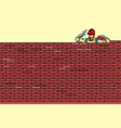 the builder lays brick masonry at the top vector image
