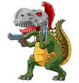 tyrannosaurus wearing spartan helmet with two gun vector image