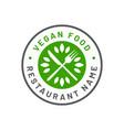 vegetarian restaurant logo vegan restaurant logo vector image vector image