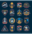 vintage space colorful emblems set vector image vector image