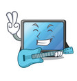 with guitar lcd tv in shape of mascot vector image
