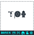 Fire equipment icon flat vector image