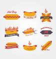 Hot dog flat design vintage label vector image