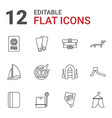 12 vacation icons vector image vector image