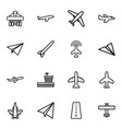 16 airplane icons vector image vector image