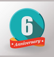 6 anniversary label with ribbon vector image