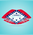 arkansas flag lipstick on the lips isolated on a vector image