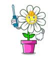 automotive daisy flower mascot cartoon vector image