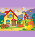 autumn theme with house 1 vector image