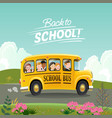 back to school concept school bus with children vector image vector image