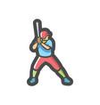 baseball athlete player icon cartoon vector image
