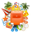 beach accessories with rolling bag vector image vector image