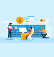 bitcoin traders or miners team flat concept vector image