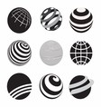 Black and White Icons Globe vector image vector image
