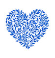blue floral watercolor heart vector image