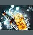 bottle and mug of beer in ice cubes highly vector image