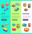 cartoon present boxes banner vecrtical set vector image vector image