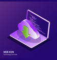 cloud service isometric web icon ultravioelt vector image vector image