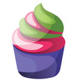 colorful cupcake on white background vector image vector image