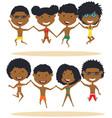 cute african-american summer people jumping