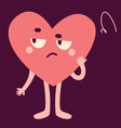 Cute Heart Character Looking Upset vector image vector image