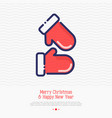 cute red gloves thin line vector image