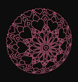 distorted pink mandala with hearts on black vector image vector image