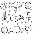 doodle of weather set cloud thunder wind vector image vector image