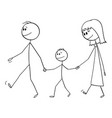family or parents with kid or son on walk vector image vector image