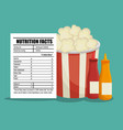 fast food with nutritional facts vector image