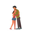 father hugs and comforts teenager daughter vector image vector image