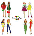 female body types and body shapes vector image vector image