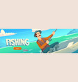 fishing website with lake and man in boat vector image