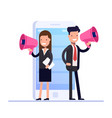 flat digital marketing concept businessman and vector image vector image