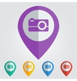 flat pin with photo icon vector image