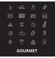 gourmet editable line icons set on black vector image