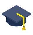 Graduate cap isometric 3d icon vector image