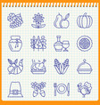 handwritten pen thanksgiving day line icon set vector image