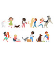 happy pet owner kids play with own animals vector image vector image